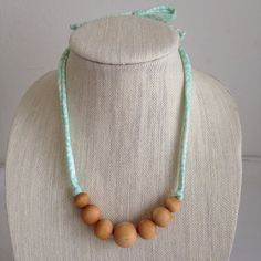 Natural Gradient Wood Bead Girls Necklace by easilycharming, teething necklace