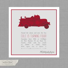 FIRETRUCK Birthday INVITE - Digital File customized for your party with photo. $14.99, via Etsy.