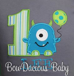 Monster With Balloon Birthday Shirt or Bodysuit. Custom made to your specifications. Any age, any colors. Remember, I can also make hair bows to match any of the shirts listed in my shop or pretty much anything for that matter :o) If youre interested in matching hair bows convo me for