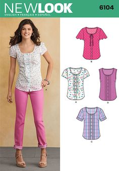 misses' button front blouse with front detail and sleeve variations. new look sewing pattern.