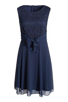 Esprit - Fließendes Chiffon-Kleid mit Spitze im Online Shop kaufen