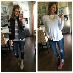 Living In Yellow: Top Picks of 2016 [Still In Stock + Free Delivery By Christmas Eve! Black Vest Outfit, Vest Outfits, Casual Fall Outfits, Mom Outfits, Fall Winter Outfits, Autumn Winter Fashion, Cute Outfits, Fashion Outfits, Winter Clothes