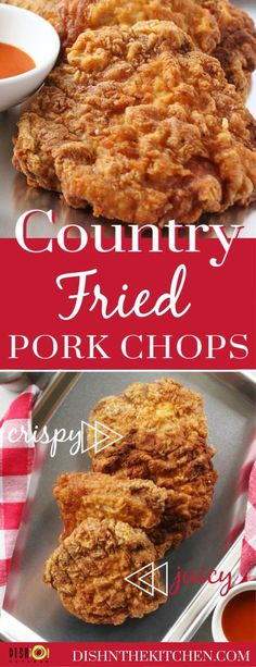 These crowd pleasing Country Fried Pork Chops are everything you want them to be.crispy crunchy spicy and juicy! This recipe is fully adjustable for every spice level.low medium and high! Best Fried Pork Chops, Fried Boneless Pork Chops, Country Fried Pork Chops, Pork Chop Dishes, Pork Chop Recipes, Meat Recipes, Cooking Recipes, Dinner Recipes, Chops Recipe