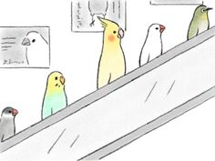Works of Tsuji Saori. This makes me smile. There is a Jem and a Boo on the escalator! Ha!