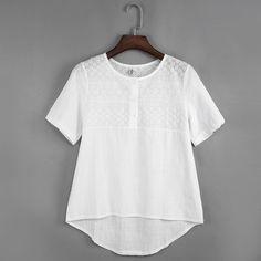 Elegant Women Tops White Cotton Linen Embroidery Hollow out Blouse Shirt Female Short Sleeve Summer Casual Crochet Blusas Shirts