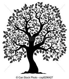 Vecteur - arbre, Formé, silhouette, 3 - Banque d'illustrations, illustrations libres de droits, banque de clip art, icônes clipart, logo, image EPS, images, graphique, graphiques, dessin, dessins, image vectorielle, oeuvre d'art, art vecteur EPS