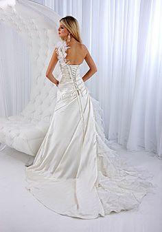 A-line Flowers Lace-up One Shoulder Satin Wedding Dress - Promdresshouse.com
