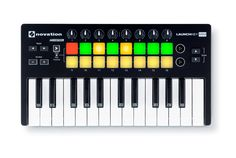 Launchkey Mini - the mini keyboard for Ableton Live 16 multi-colour backlit velocity sensitive drum pads 8 knobs, dedicated navigation and control buttons Midi Keyboard, Keyboard Piano, Best Digital Piano, Keyboard Lessons, Drum Pad, Usb, Drum Lessons, Ableton Live, Power Cable