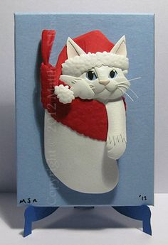 White Kitten in a Stocking Cat ACEO Christmas Mini Paper Sculpture M Ross. $40.00, via Etsy.