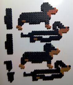 Perro salchicha 3D #Hama #HamaBeads #PixelArt #Perler #Pyssla #handmade