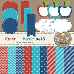 Digital Papers and Label Cliparts Basic Set 8, Teacher Sellers Kit, teacher resource