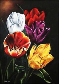 Tulipanes, óleo,  autor: Maria Noemi Garfias