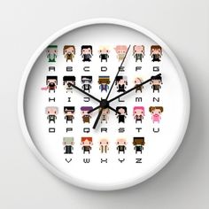 Harry Potter pixel art alphabet wall clock on Society6