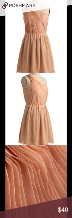 GORGEOUS Pleated top rosette ballet pink dress! Chiffon like, ballet pink, dress with beautiful details! The top is delicately pleated and gather into a one shoulder silhouette. Accented with a rosette shape on the shoulder. It is lined with fabric that has a silky feel, making it comfortable, and giving it a lux feel. The color, details, and fabrics of this dress make it seem so expensive for a small price. Looks very high end! Ark & Co Dresses Mini