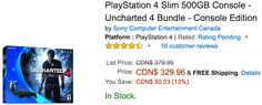 Amazon Canada Deals Of The Day: Save 13% On PlayStation 4 Slim 500GB Console  Uncharted 4 Bundle  Console Edition http://www.lavahotdeals.com/ca/cheap/amazon-canada-deals-day-save-13-playstation-4/149465?utm_source=pinterest&utm_medium=rss&utm_campaign=at_lavahotdeals