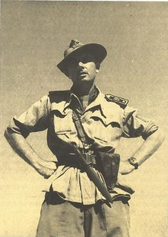 """World War II - Egyptian Desert, El Alamein, 1942 - The Conte Paolo Caccia Dominioni (05/14/1896 - 08/12/1992) Major and Commander of the 31st battalion of sappers genius who fought alongside the """"Thunderbolt""""  After fourteen years of hard work and ignored the sites of the Battle of El Alamein, has risen a shrine, which he designed and built, which contains the remains of 4,814 Italian and 232 fallen Libyan askari"""