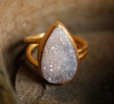 Lilac Lavender Druzy Ring - Teardrop - Adjustable Ring, Mauve Stone, Spring. $65.00, via Etsy. so pretty!