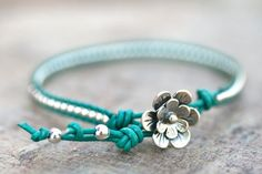 Turquoise Leather with Sterling Silver Beaded Leather by MindyG