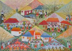 I Love the Spring by Valeria Tofan, size: Naive art, Painting matierial: Oil on canvas Naive Art, Artsy Fartsy, Oil On Canvas, Folk Art, Quilts, Landscape, My Love, Gallery, Spring