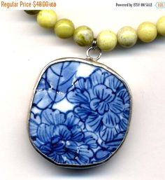 SALE 15% off Peridot Jade  necklace with big Floral by Annaart72