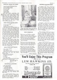 Kitchen Klatter Magazine, February 1940 - Whipped Cream Cupcakes, Beef Steak Salted Down, Home Made Soap, Household Cleaner, Kitchen Klatter Kinks