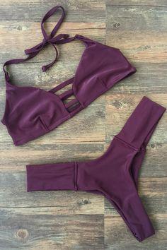Deep Purple Halter Bikini Set