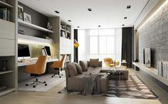 En este salón se aprovecha al máximo el espacio gracias a su distribución. Zona de estudio y salón en uno.