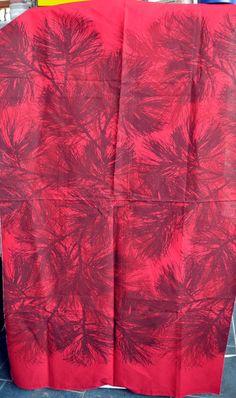 Marimekko fabric remnant piece, Manty (pine) red colors