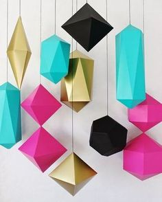 Bright and bold these paper diamonds and prisms are sure to liven up any space or party Photo credit: @craftcoursenash by whitenookau