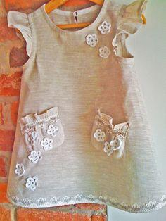 Girl dress Linen flower girl dress Weddings by SnowwhiteLinen, $49.00