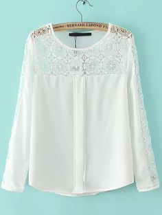 White Round Neck Hollow Lace Loose Blouse 16.00