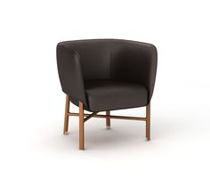 """""""Cabriolet"""" chair Hermes """"cabriolet"""" chair with solid Canaletto walnut wood base and brushed inox plated finishings. Covered with ebony black taurillon essential leather. Padded seat and back covered with ebony black taurillon essential leather. L27"""" x H28.5"""" x W25.4"""" <br />Small and comfortable occasional armchair skillfully enhanced with piping.<br />"""