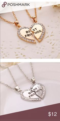 Super Cute 2 best friends necklaces Brand new. Made of alloy. Comes with 2 necklaces As pictured. About 20 inches long each. Gold color and silver color available. Thanks for looking! Jewelry Necklaces