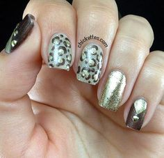 Chickettes.com Gold  Leopard Print Inspired Nail Art
