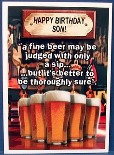 Happy Birthday Son Pints of Beer  on Craftsuprint designed by Glynn Clarke - made by Cheryl French - Printed onto glossy photo paper. Attached base image to card stock using ds tape. Built up image with 1mm foam pads. - Now available for download!