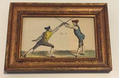 Fencing Artwork Framed w King Ambler Figure 15 Self Defense Epee Old Prints | eBay