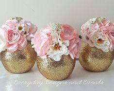 3 gold vases, gold wedding centerpiece, wedding decorations, baby shower decorations, baby shower centerpiece, glass vases, party decor
