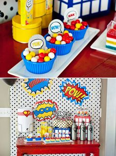 super hero baby shower ideas | Super Hero Favor Tin Lunch boxes full of Dollar store treat ...