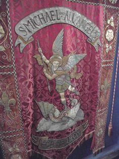 Splendid Victorian embroidery of St Michael, patron of Ledbury Parish Church