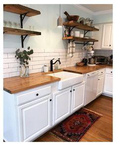 decor diy #kitchen #backsplash #with #white #cabinets #butcher #blocks Kitchen Redo, Home Decor Kitchen, Interior Design Kitchen, New Kitchen, Home Kitchens, Kitchen Remodel, Kitchen Cabinets, White Cabinets, Kitchen Backsplash
