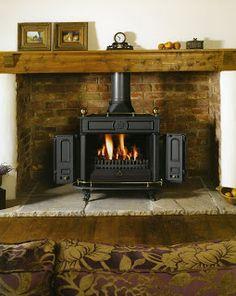 woodburner in stone inglenook style fireplace Wood Stove Surround, Wood Stove Hearth, Wood Burner Fireplace, Fireplace Inserts, Fire Surround, Open Fireplace, Hearth Stone, Brick Hearth, Inglenook Fireplace