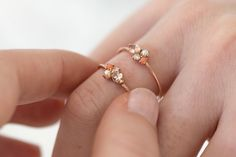 Blush Mini Cluster Ring in Solid 14k Gold by Melanie Casey Jewelry.... This one is super girlie pretty and in the rose gold, it's beautifulz
