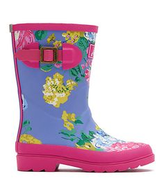 Look what I found on #zulily! Pink & Blue Floral Welly Rain Boot - Kids #zulilyfinds