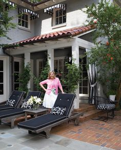 Black and white striped awnings and curtains