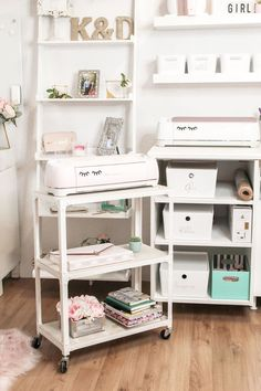 A three-tier cart allows us to roll our Cricut around to different workspaces! - Craft Room, Pink & White Office, She Shed, Craft Storage- The Sparkly Co. Ikea Craft Room, Small Craft Rooms, Craft Room Decor, Craft Desk, Cricut Craft Room, Craft Room Storage, Craft Organization, White Craft Room, Paper Storage