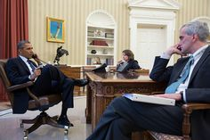 President Barack Obama talks on the phone with FBI Director Robert Mueller to receive an update on the explosions that occurred in Boston, in the Oval Office, April 15, 2013. Seated with the President are Lisa Monaco, Assistant to the President for Homeland Security and Counterterrorism, and Chief of Staff Denis McDonough. (Official White House Photo by Pete Souza) : The White House - Flickr