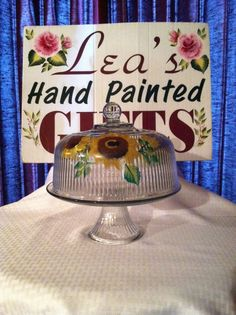 Convertable Sunflower Cake Dome and/or Punch Bowl (Handpainted Glassware)