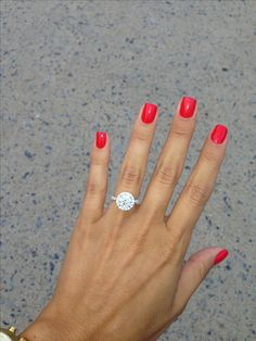 Round halo engagement ring aka my dream ring Wedding Looks, Perfect Wedding, Dream Wedding, Wedding Day, Gold Wedding, Wedding Stuff, Wedding Wishes, Wedding Bells, Red Wedding Nails
