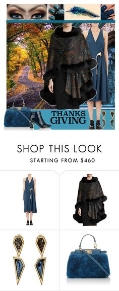 """""""Home for Thanksgiving"""" by yours-styling-best-friend ❤ liked on Polyvore featuring OPI, Acne Studios, Sofia Cashmere, Monique Péan, Fendi and Chloé"""