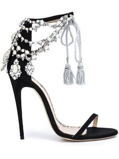 Marchesa 'Marissa' sandals (see more black ribbon shoes) Black High Heel Sandals, Leather High Heels, Black Leather Shoes, Black Heels, Black Suede, Black Satin, Suede Leather, Purple Heels, Silver Sandals